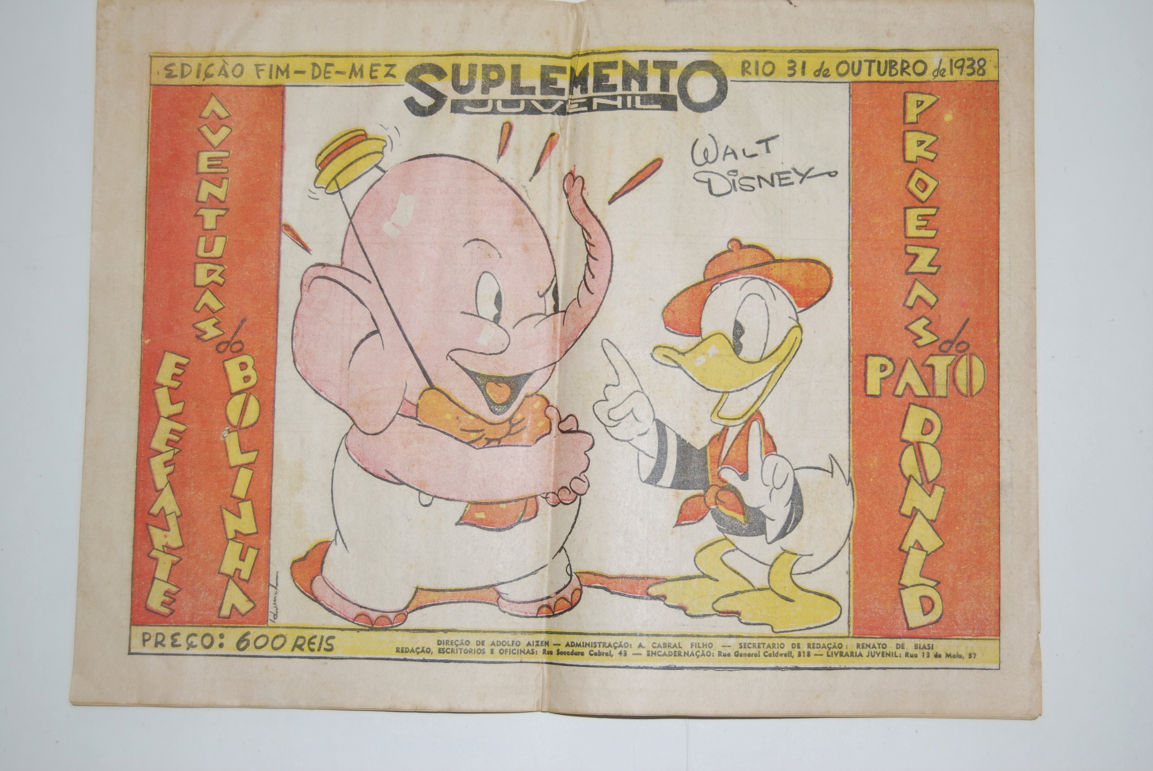 Image for WALT DISNEY COMIC STRIP on DONALD DUCK & ELEPHANT [DUMBO ?], published Oct. 31, 1938 in Rio De Janiero, Brazil in Portuguese, the official language of Brazil.  Published in Newspaper format, pages 14 in. wide by 10 1/2 in. high, 28 pages total. Title in Portuguese: ADVENTURA do ELEFANTE BOLINHA  - PROEZAS do PATO DONALD. Supplemento Juvenil. Edicao Fim-De-Mez, Rio 31 de Outurbo de 1938