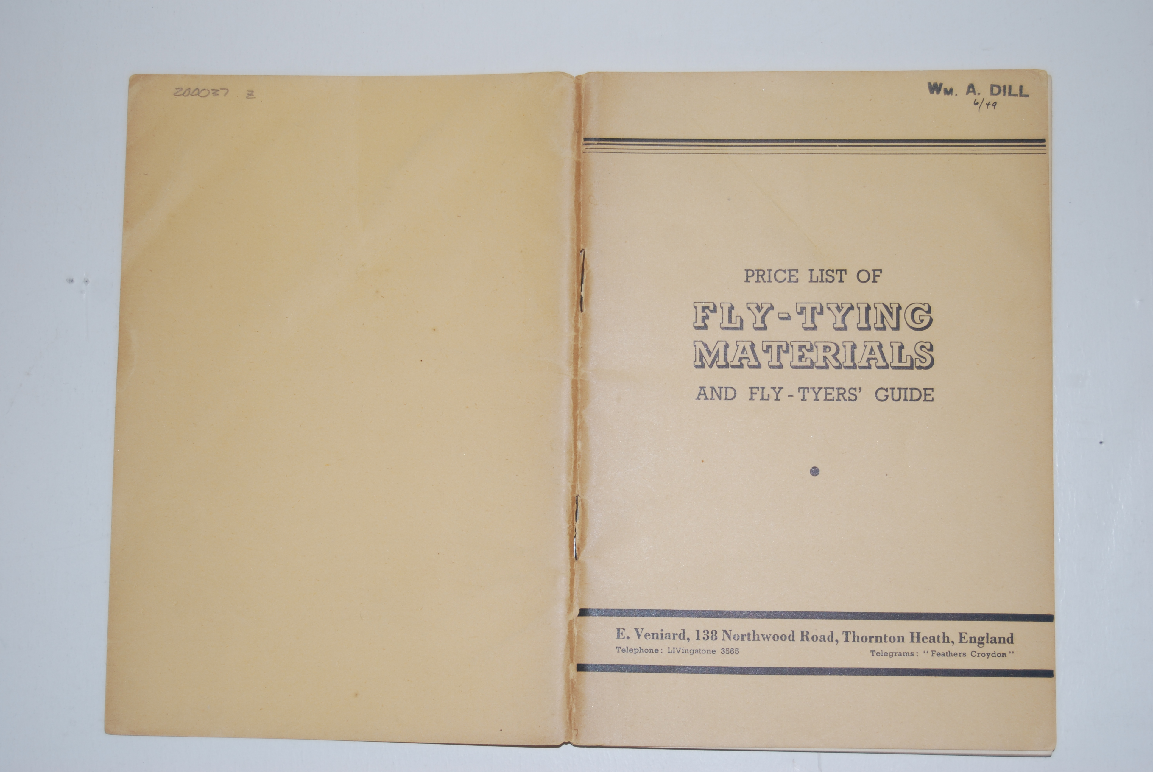 Image for PRICE LIST OF FLY-TYING MATERIALS And Fly-Tyer's Guide. Thornton Heath UK: E. Veniard. 64 p. 1949. Paper Wraps.