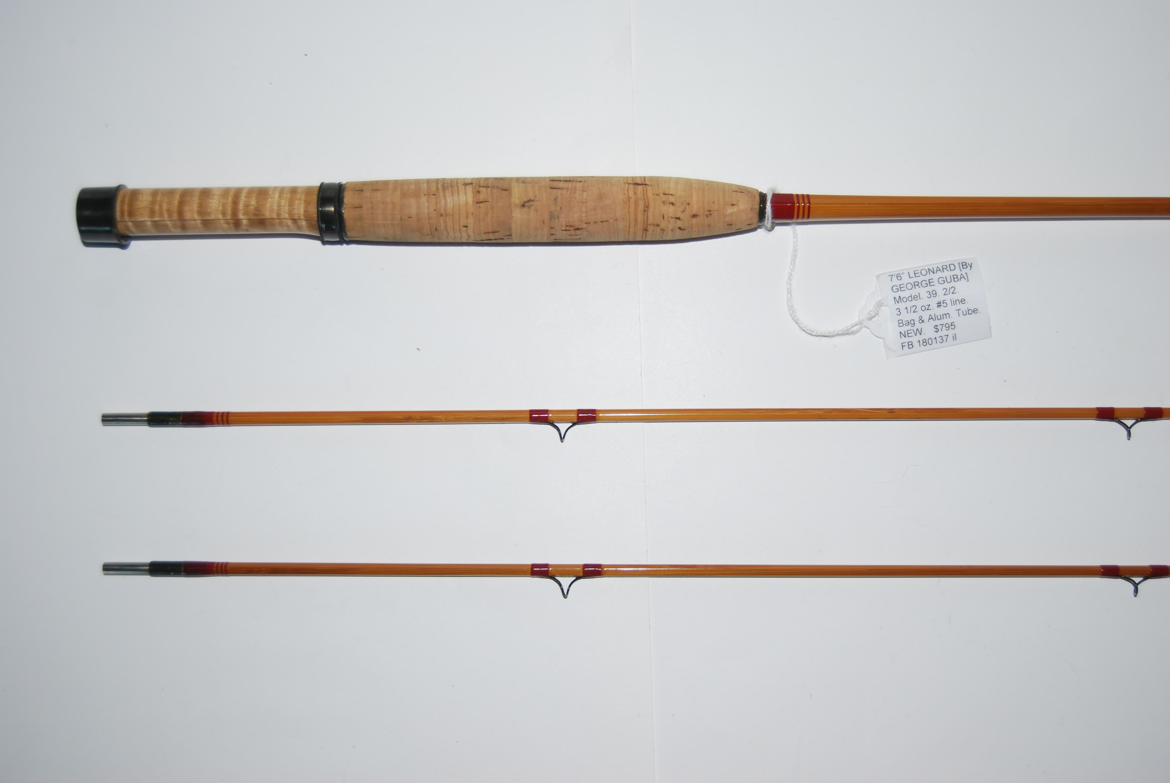 Vintage GUDEBROD fil de soie orange brûlé #221 Bamboo Fly Rods 50 yds Taille 00