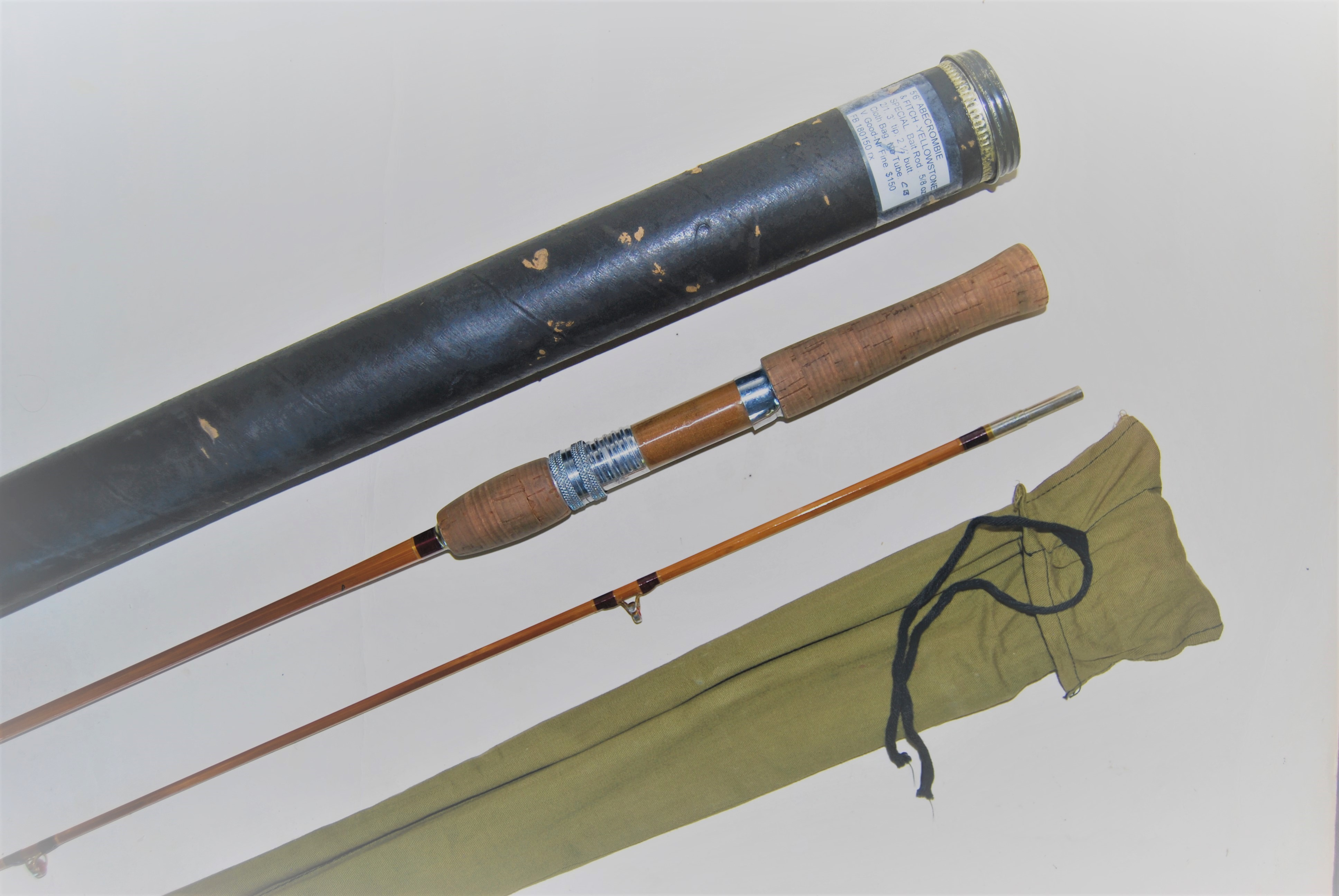"Image for 5'6"" ABERCROMBIE & FITCH YELLOWSTONE SPECIAL 2/1 Bait Caster. 5/8 oz plugs. 3 ft. tip; 2 ½ ft. butt; cloth  bag & Cardboard Tube."