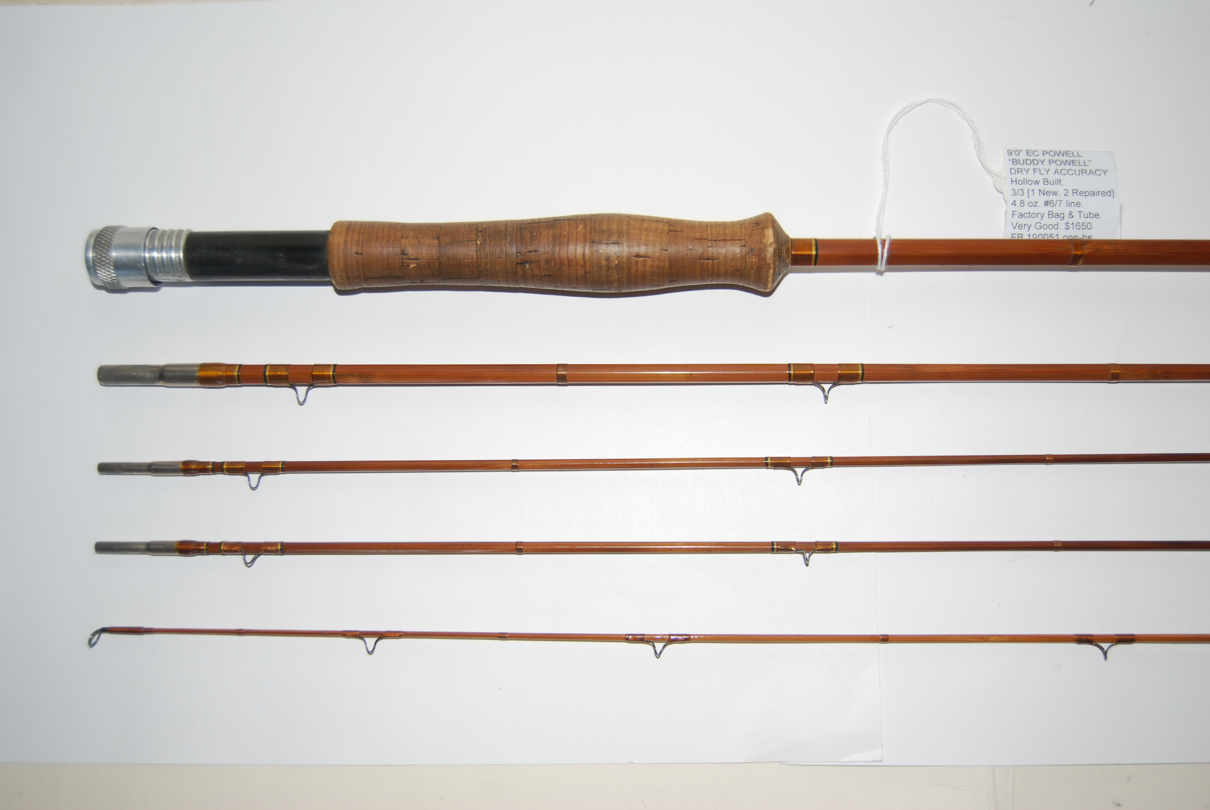 "Image for  9'0"" POWELL E.C. ""BUDDY POWELL"" DRY FLY ACCURACY  3/3 [1 Tip down ½ in.; 2  tips have 1-in.repair wrap below first snake guide from tip; 3rd tip factory replacement] 4.8 oz. #6/7 line; Bag & Tube."