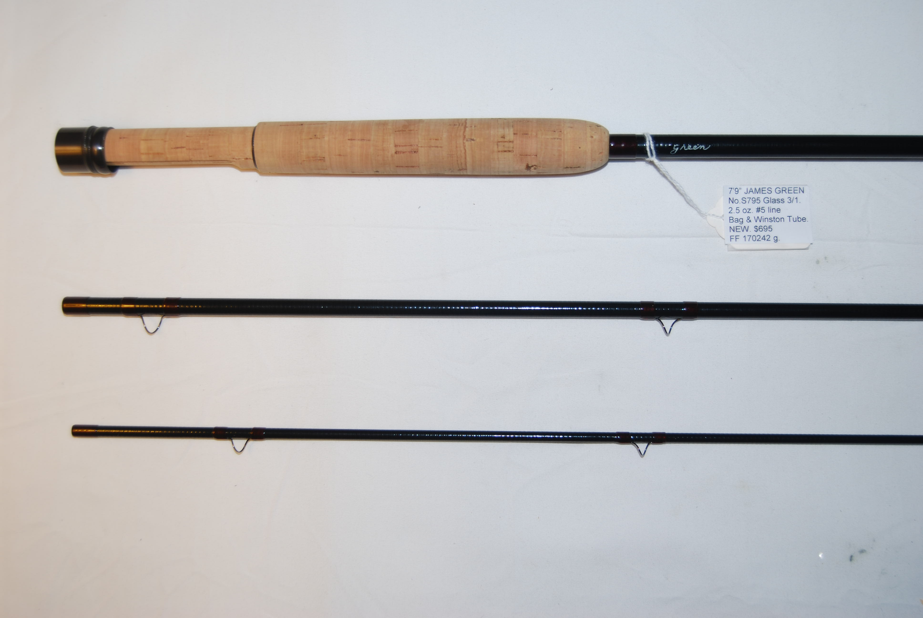 "Image for 7'9"" JAMES GREEN SPRING CREEK SERIES. No. S795 Glass 3/1.  2.5 oz.  #5 line. Unsanded medium action black glass."