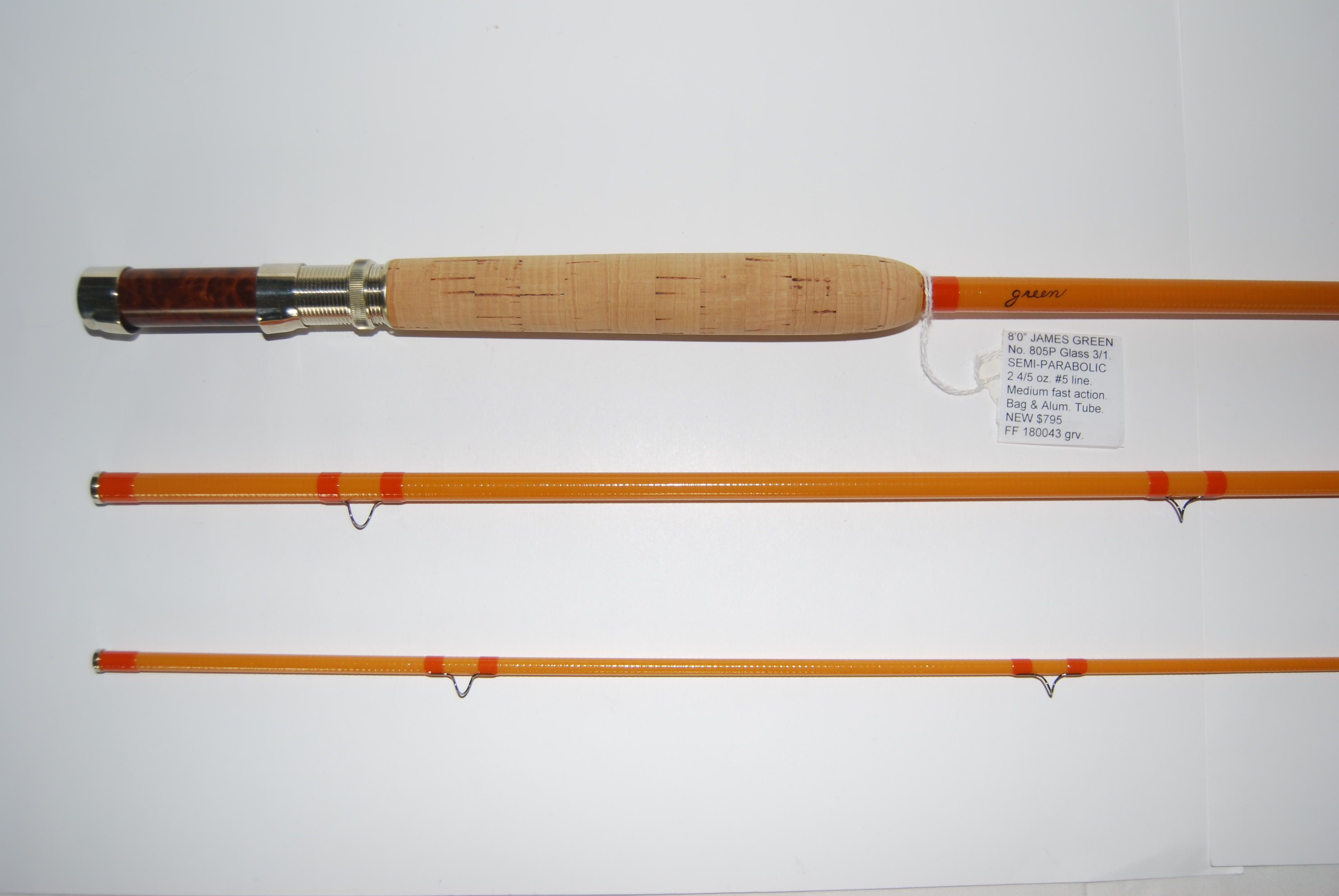 "Image for 8'0"" JAMES GREEN SEMI-PARABOLIC No.805P Glass 3/1. 2 3/4 oz. #5 line. Unsanded medium fast action yellow glass; D/L Bellinger bright screw lock over burl Redwood into bright cap"