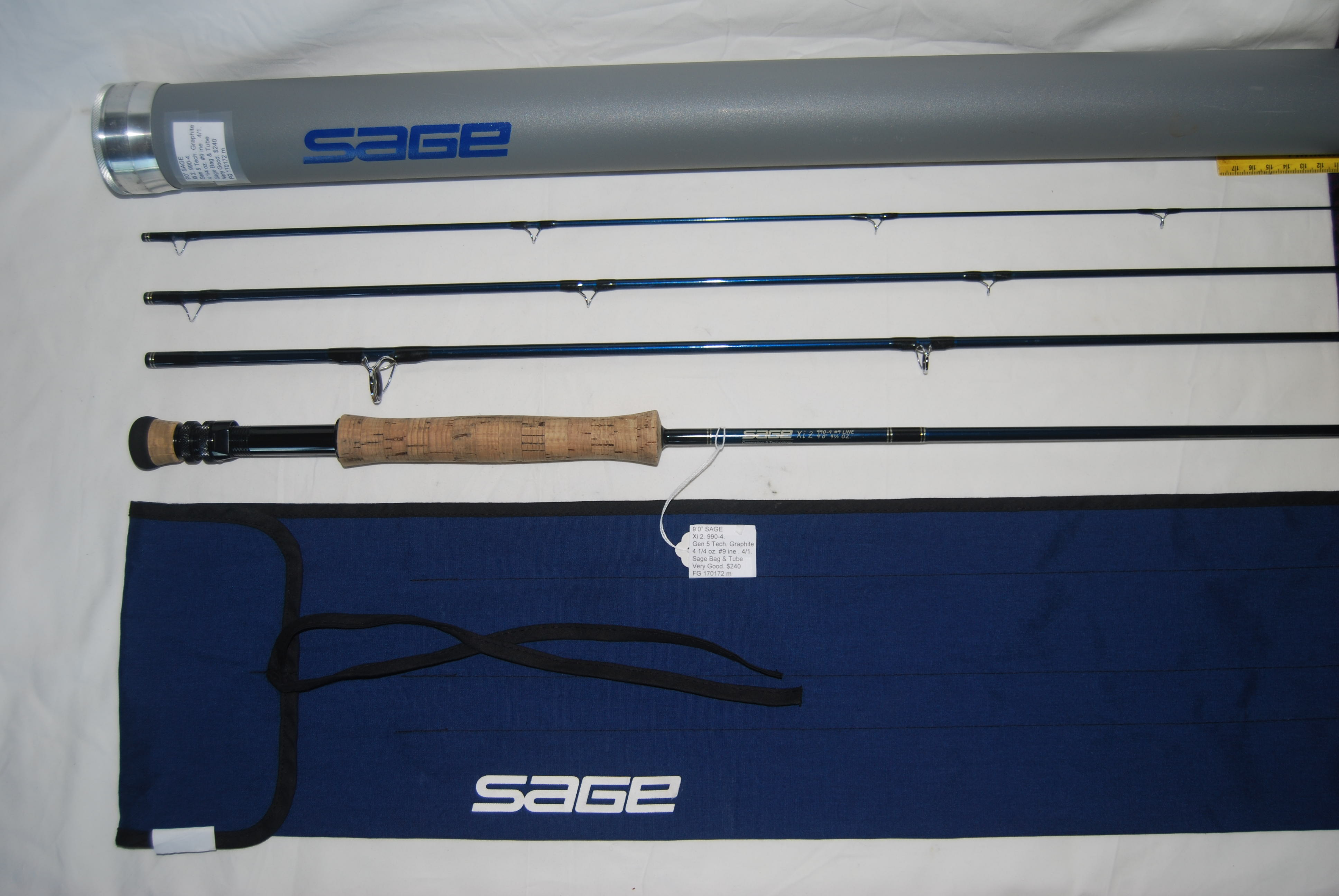 "Image for 9'0"" SAGE  Xi 2. 990-4 #9 line./ 9'0"" 4 ¼ oz. Generation 5 Technology. Graphite 4/1.  Sage Bag & Sage Alum Tube."
