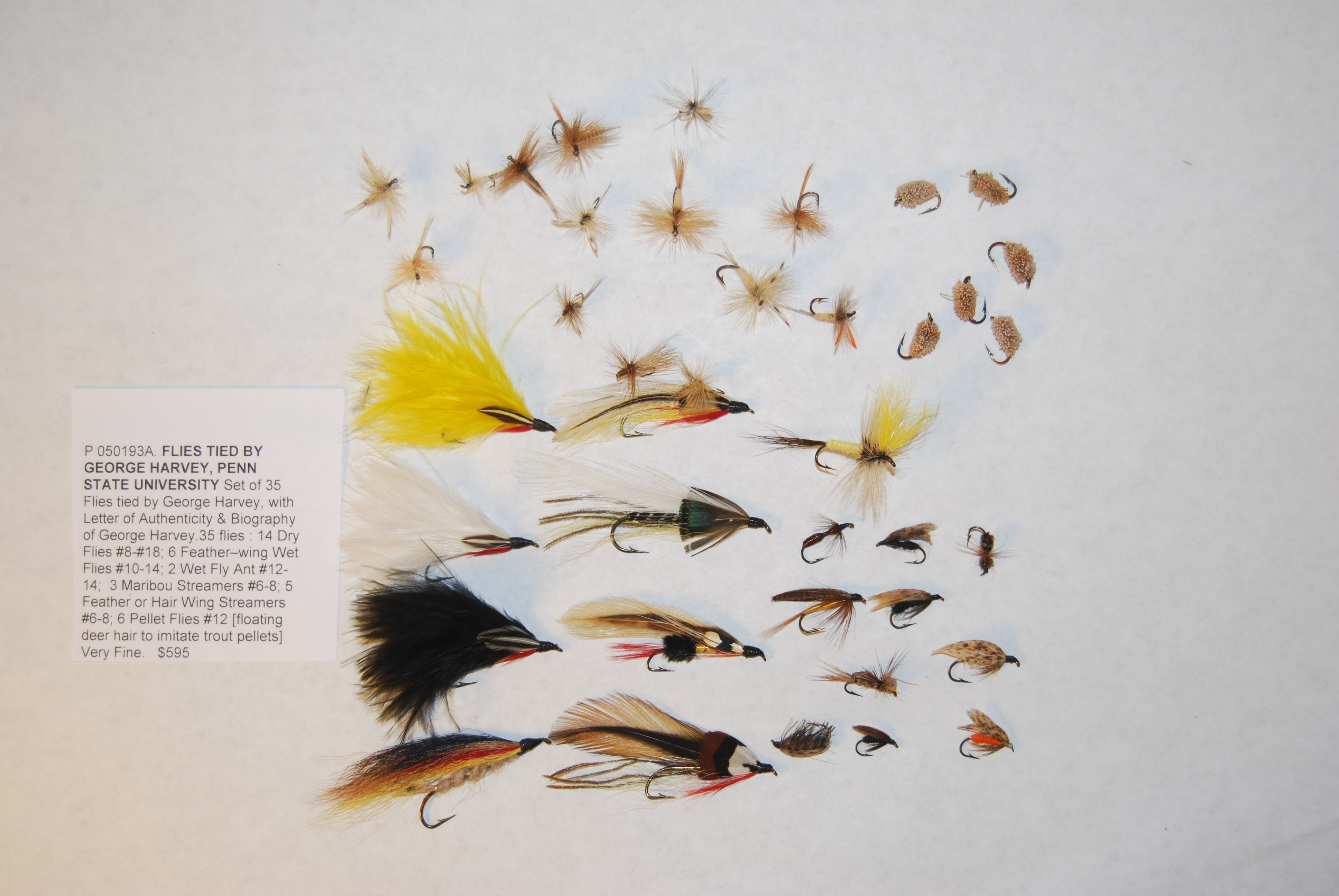 Image for Set of 35 Flies tied by George Harvey, with Letter of Authenticity & Biography.