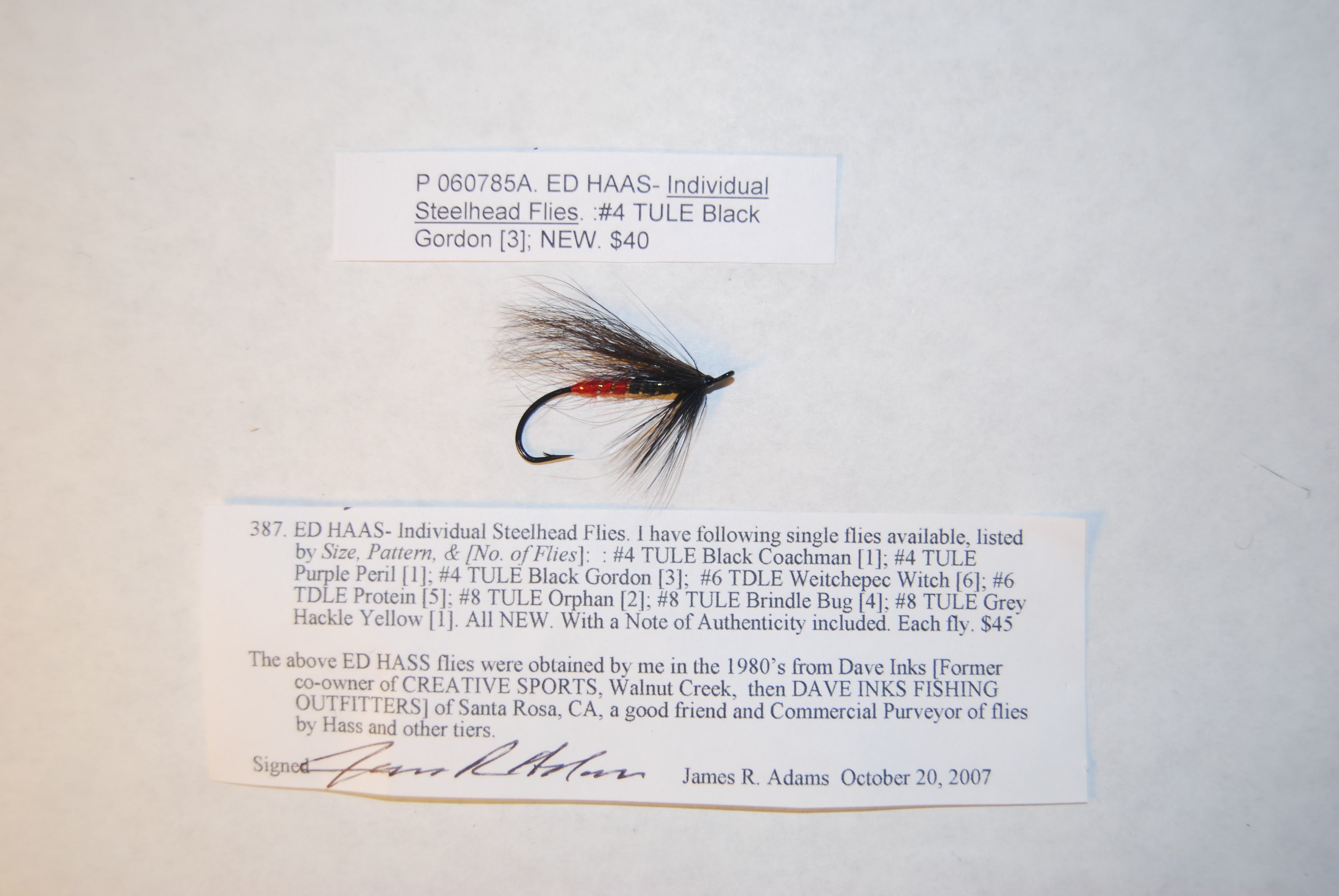 Image for ED HAAS- Individual Steelhead Flies. #4 TULE Black Gordon.