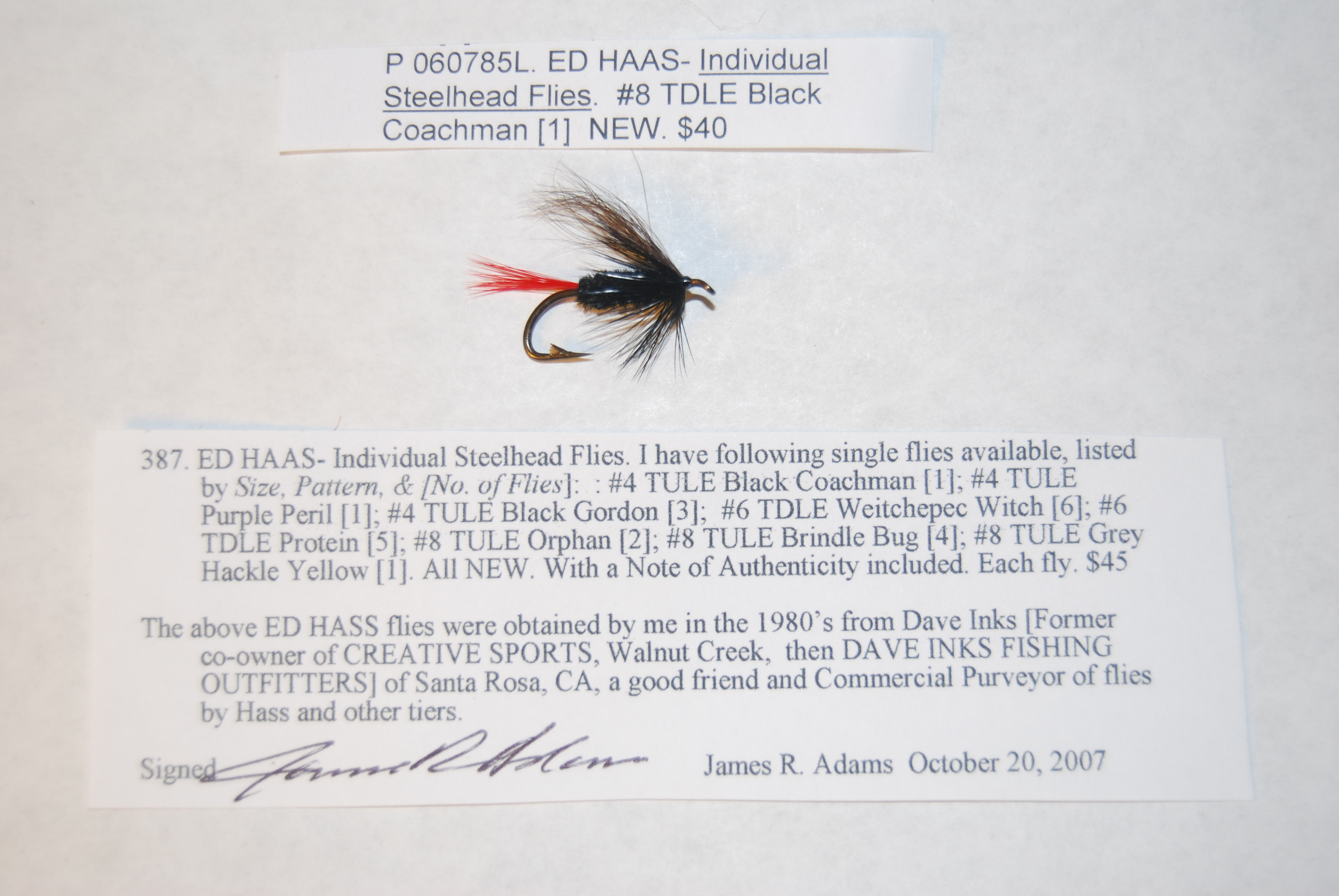 Image for ED HAAS- Individual Steelhead Flies. #8 TDLE Black Coachman.