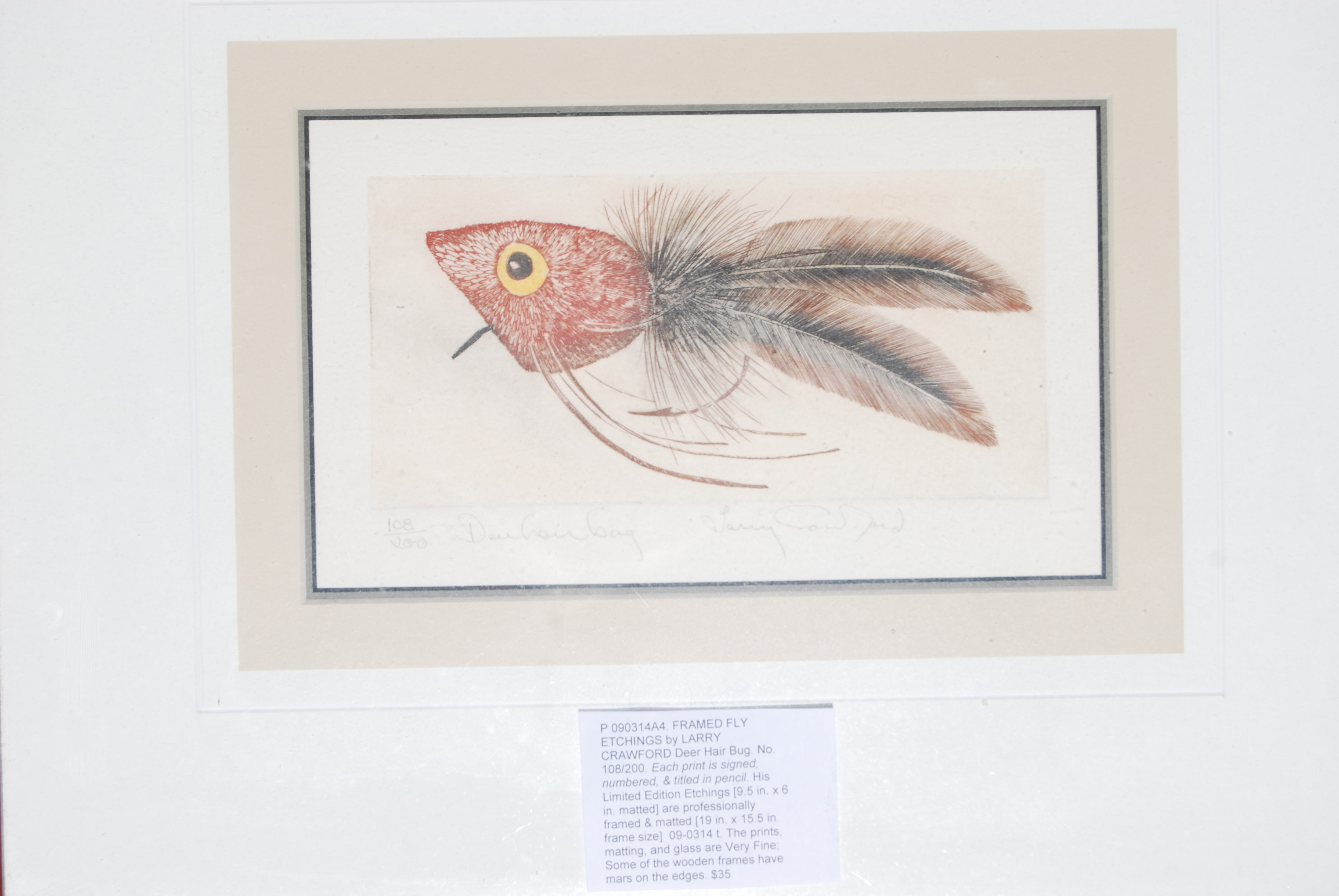 Image for FRAMED FLY ETCHINGS by LARRY CRAWFORD Deer Hair Bug.