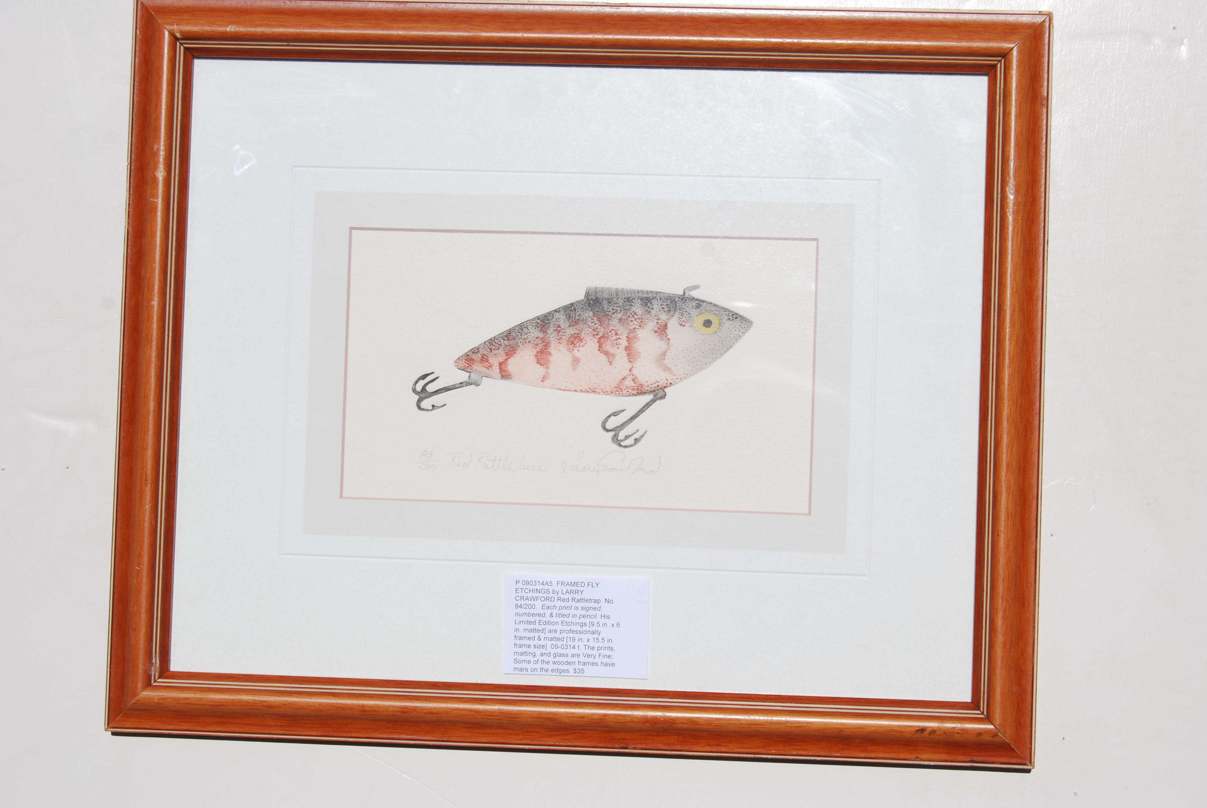 Image for FRAMED FLY ETCHINGS by LARRY CRAWFORD Red Rattletrap.
