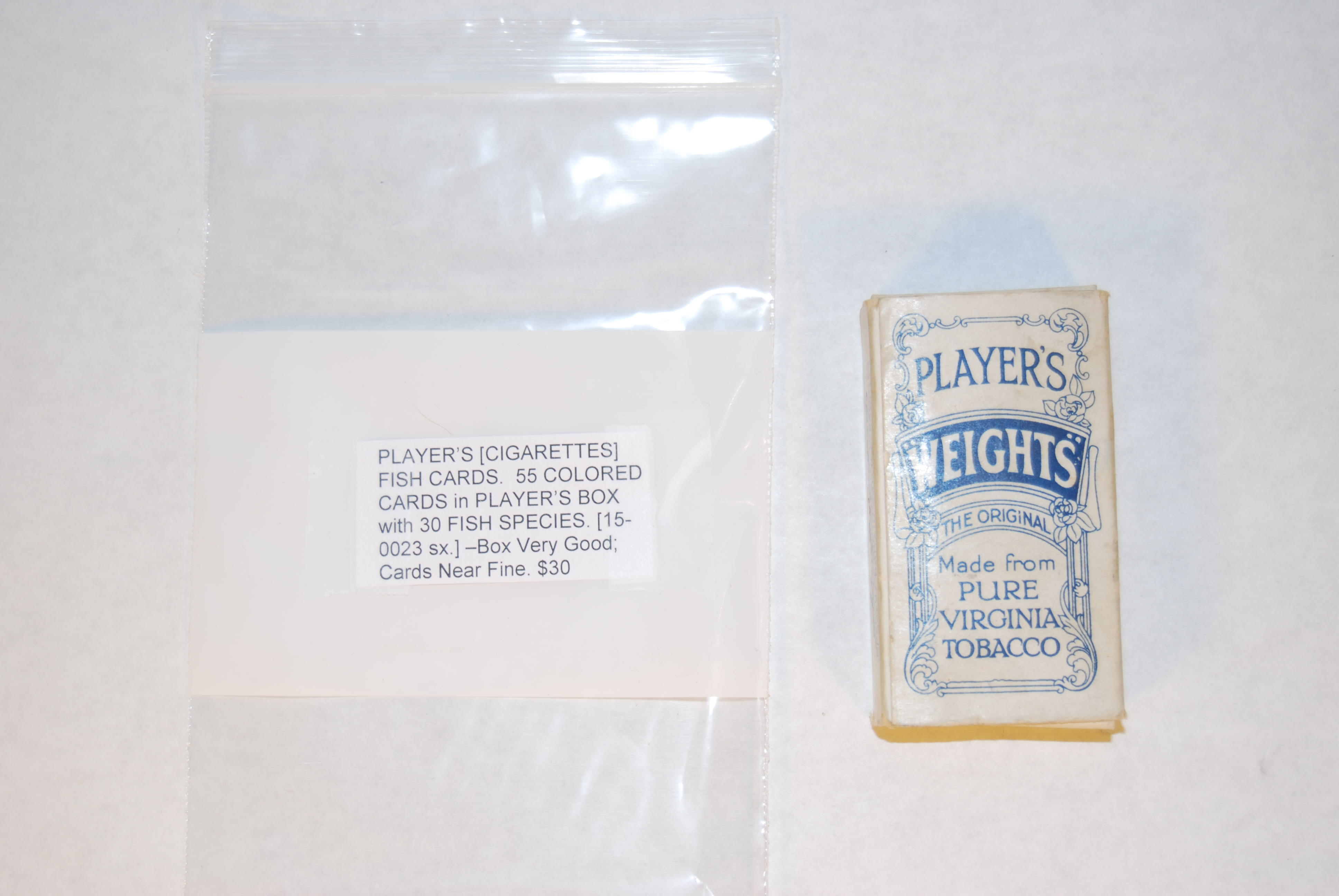 Image for PLAYER'S [CIGARETTES] FISH CARDS.  55 COLORED CARDS in PLAYER'S BOX with 30 FISH SPECIES.