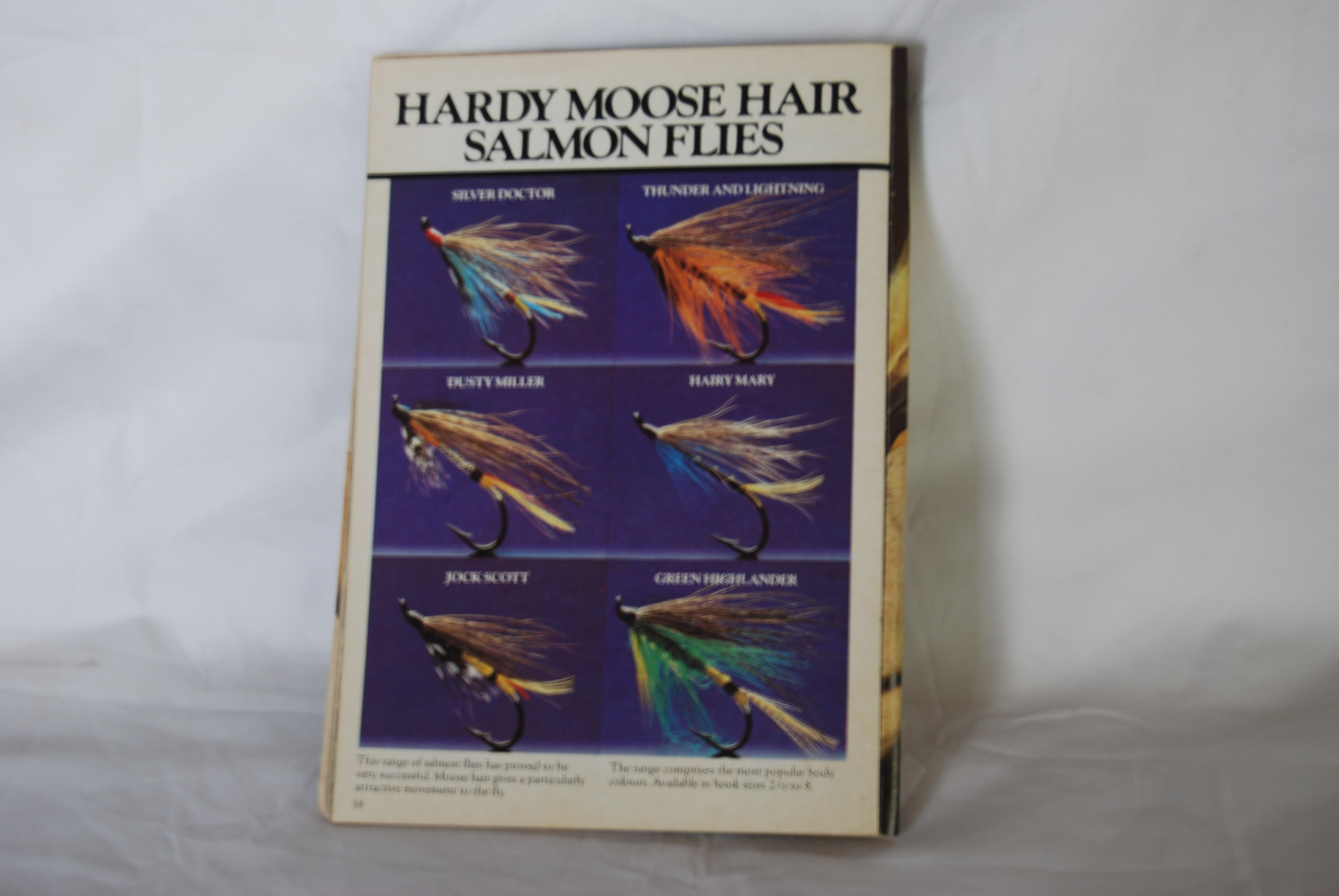 Image for HARDY MOOSE HAIR SALMON FLIES. #8 Hook TULE. In Hardy-marked flier & plastic cover. 2 Flies: Green Highlander & Thunder & Lightning.