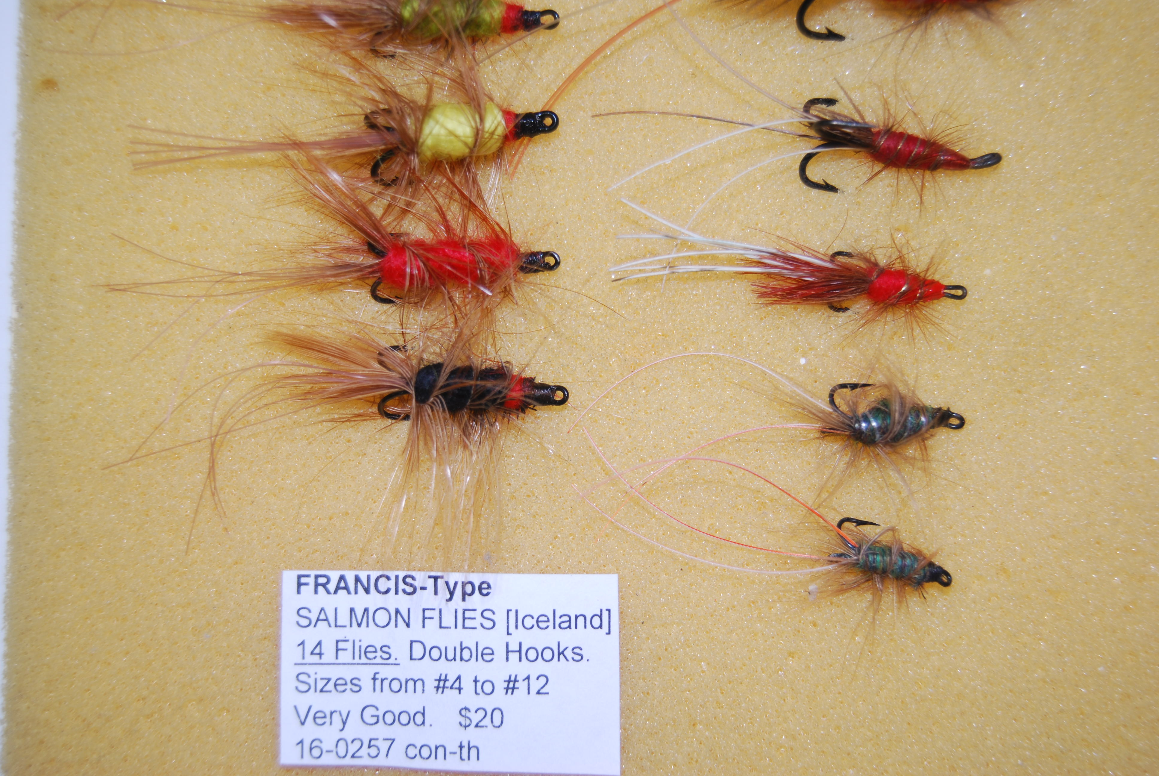 Image for FRANCIS-Type SALMON FLIES. 14 Flies. [13 double hooks, 1 treble hook] Various colors- Red, Black, Orange, Yellow, etc. Sizes 1- #2; 2-#4; 8-#6; 2-#10; 1-#12.