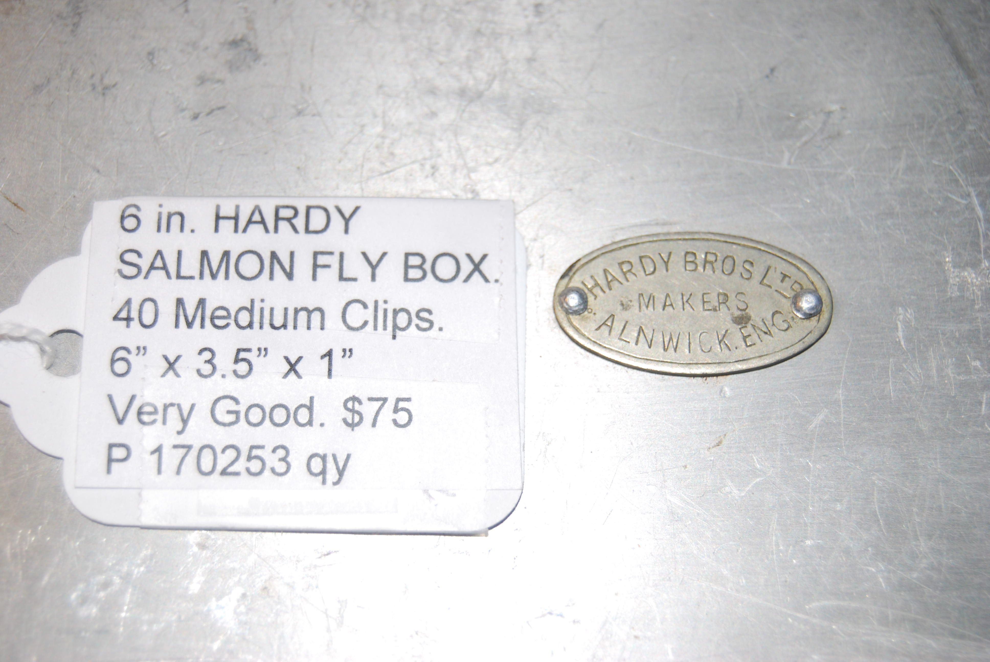 "Image for HARDY SALMON FLY BOX.  Marked on lid with oval Medallion: ""Hardy Bros. Ltd. / Makers / Alnwick, Eng.""   6 in. x 3.5 in. x 5/8 in. With 40 Medium Clips."