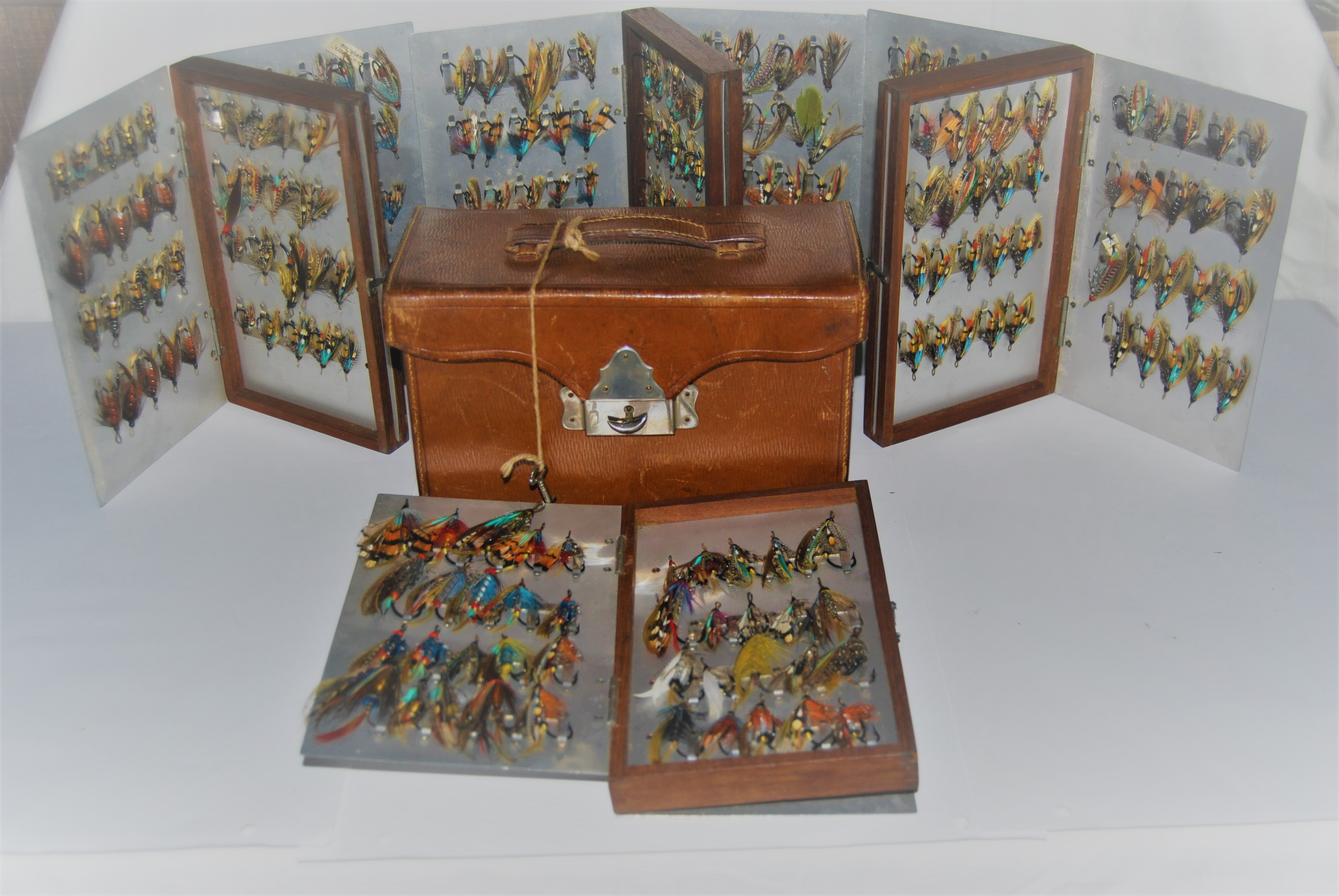 Image for EARLY SALMON FLY STOCK CASE WITH FOUR WALLET INSERTS Holding 320 GUT-EYED FULL DRESSED SALMON FLIES on Salmon Fly Clips.   8 1/2 in. x 5 in. x 4 1/4 in. Circa 1911-1918.  SOLD