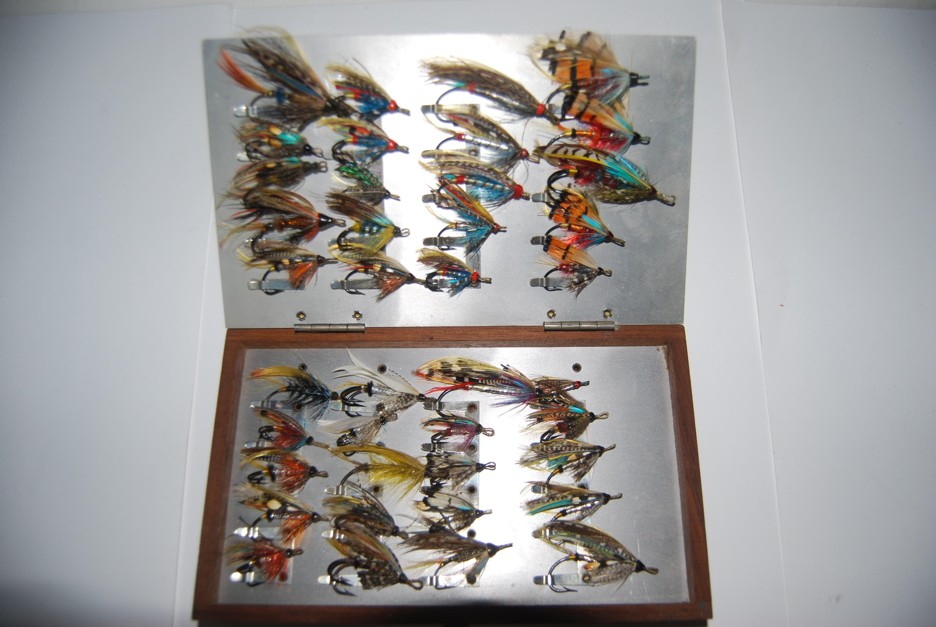 Image for EARLY SALMON FLY STOCK CASE WITH FOUR WALLET INSERTS Holding 320 GUT-EYED FULL DRESSED SALMON FLIES on Salmon Fly Clips.   8 1/2 in. x 5 in. x 4 1/4 in. Circa 1911-1918.