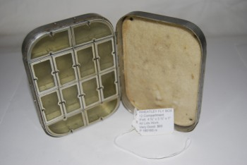 "Image for HARDY by WHEATLEY 12-Compartment Fly Box with Foam Pad inside lid. 4 ¾"" x 3 ½"" x 1"". Silmalloy Metal.  HARDY metal oval label on cover: ""Hardy Bros. Ltd. / Makers /Alnwick, England."""