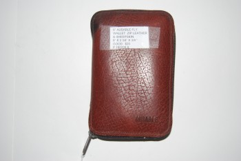 "Image for AUSABLE Zippered Leather & Sheepskin Fly Wallet. 6"" x 3 3/4"" x 3/4"".  Made in USA"