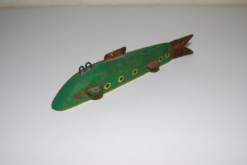 Image for FOLK ART 5 1/2 in. FISH DECOY. Lead weighted carved wood body, painted green with spots on body & cream on belly; Sheet metal fins.