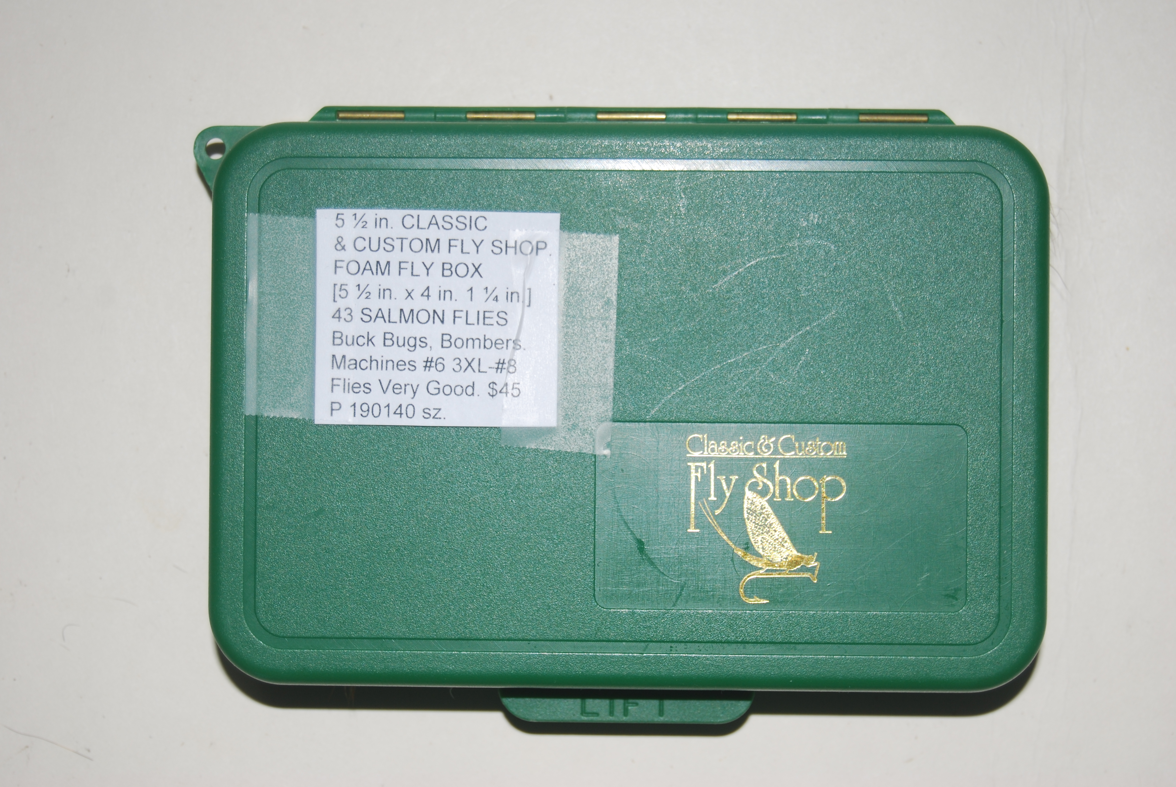 Image for 5 ½ in. CLASSIC & CUSTOM FLY SHOP.  FOAM FLY BOX  [5 ½ in. x 4 in. 1 ¼ in.] + 43 SALMON FLIES.