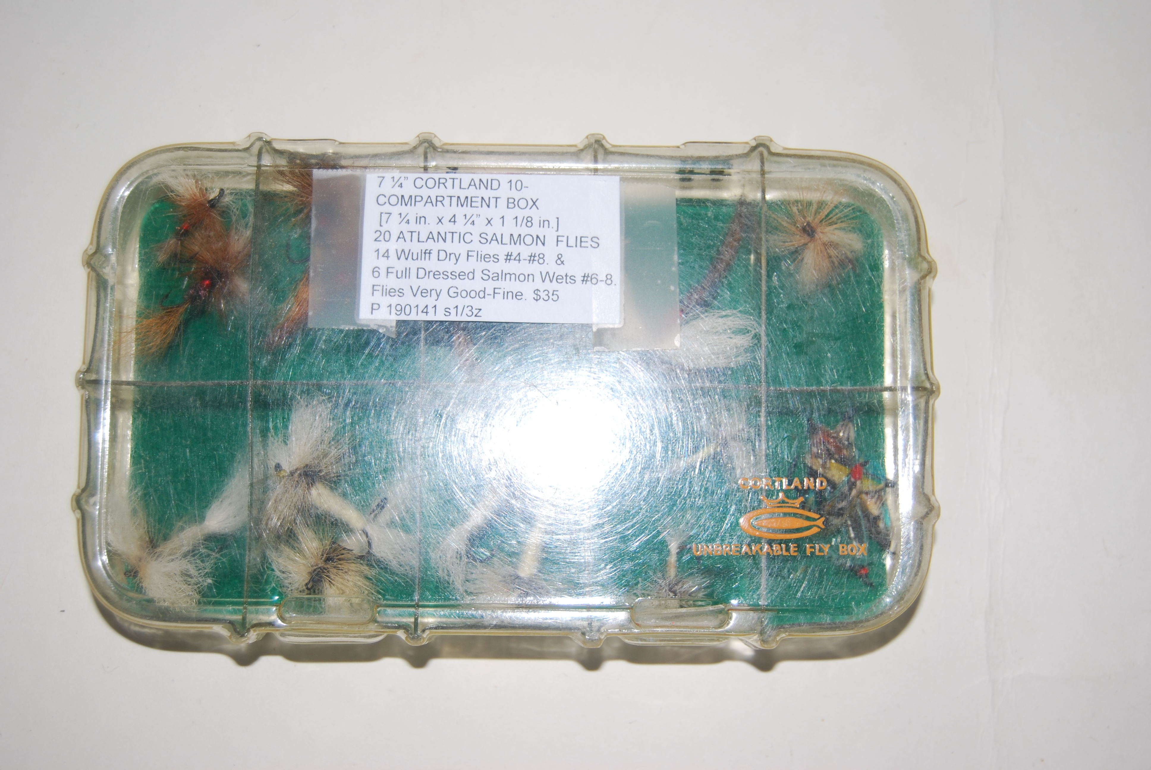 "Image for 7 ¼"" CORTLAND 10 COMPARTMENT BOX  [7 ¼ in. x 4 ¼"" x 1 1/8 in.] + 20 ATLANTIC SALMON  FLIES."