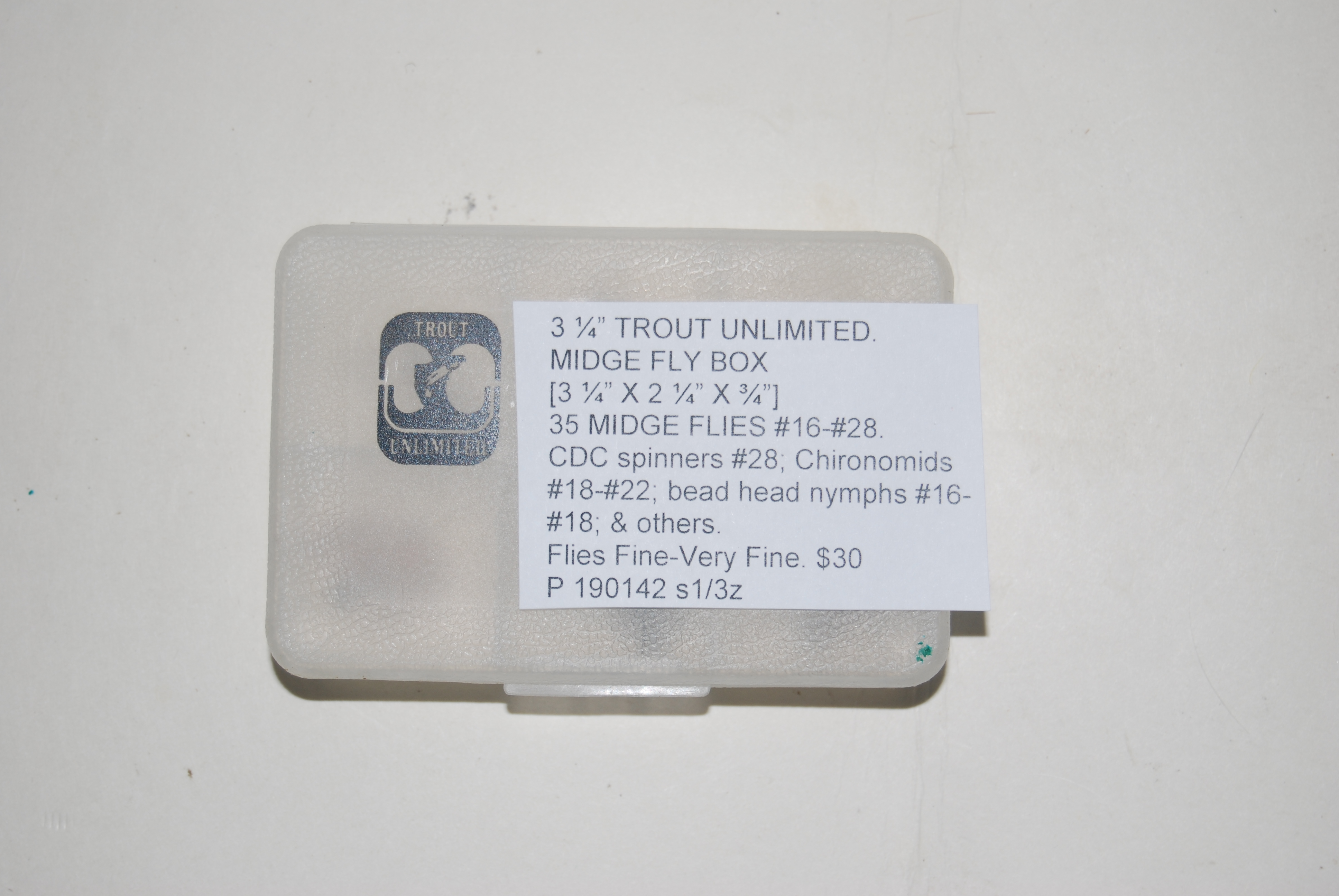 "Image for 3 1/4 in. TROUT UNLIMITED. MIDGE FLY BOX  [3 ¼"" X 2 ¼"" X ¾""]  Plus 35 MIDGE FLIES #16-#28."