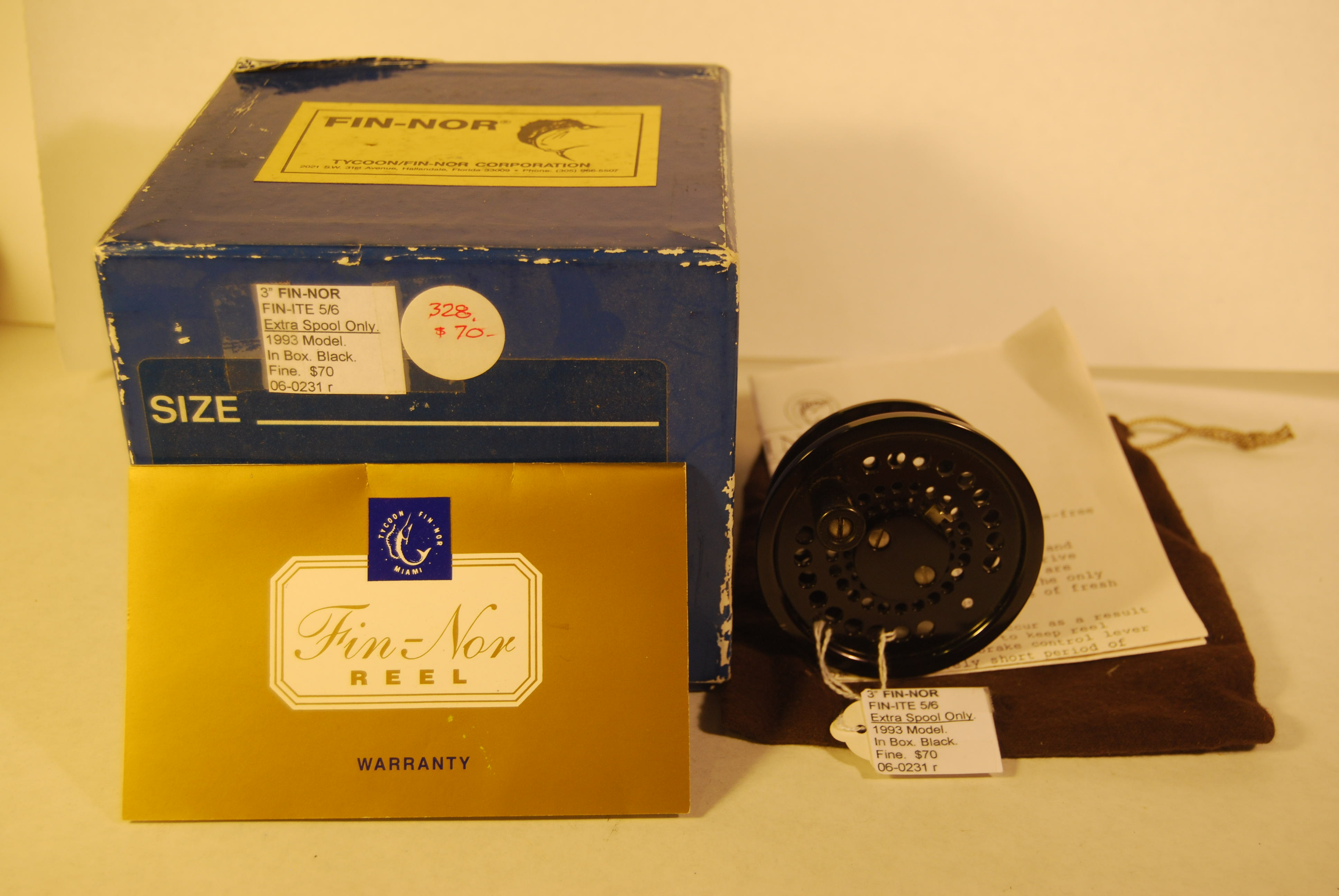 "Image for 3"" FIN-NOR ""FIN-ITE 5/6."" EXTRA SPOOL. 1993 Model. Black. In  Fin-Nor Box with Bag, Warranty & Instructions."