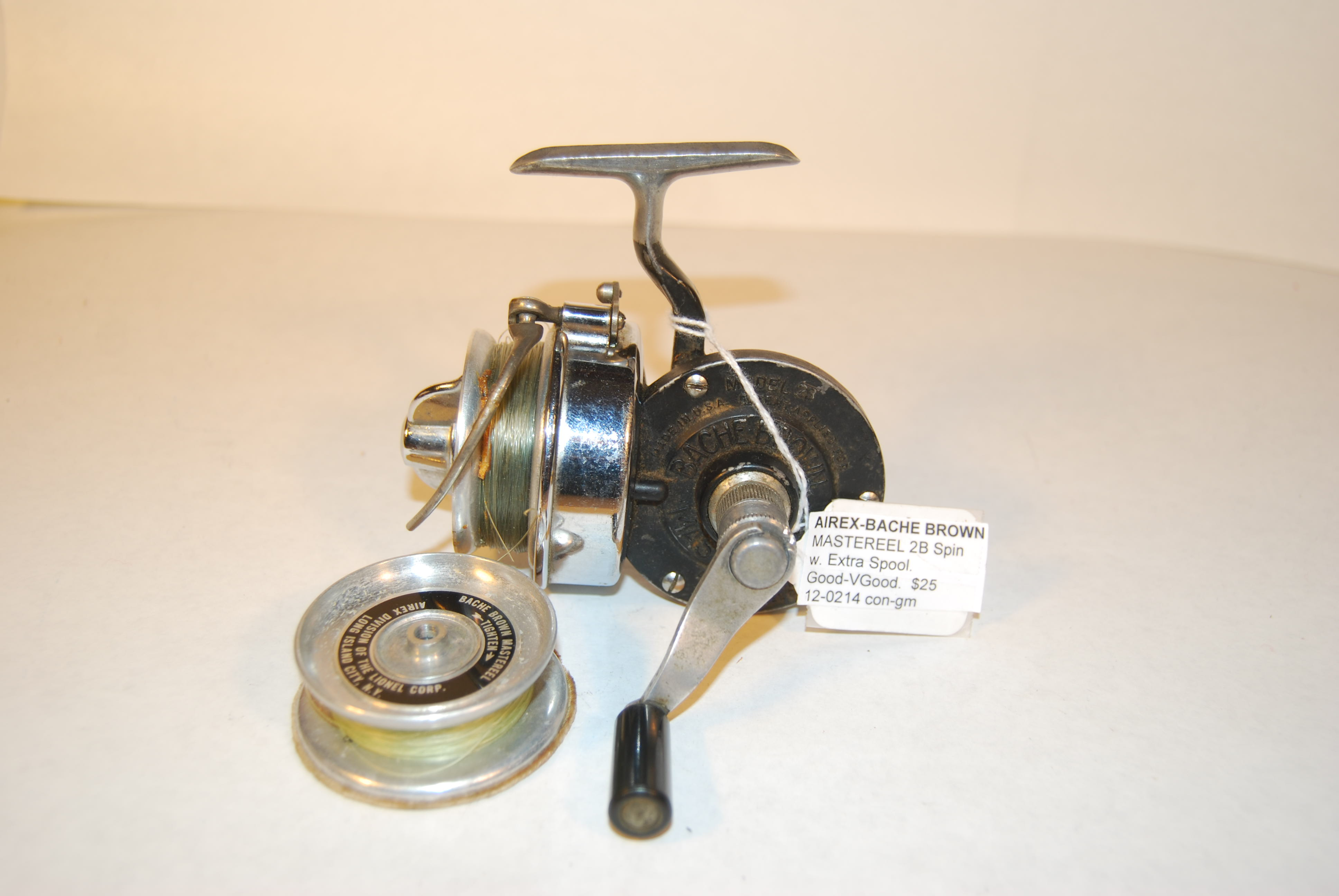 "Image for AIREX-BACHE BROWN ""MASTEREEL 2B"" Spin Reel. With EXTRA SPOOL."