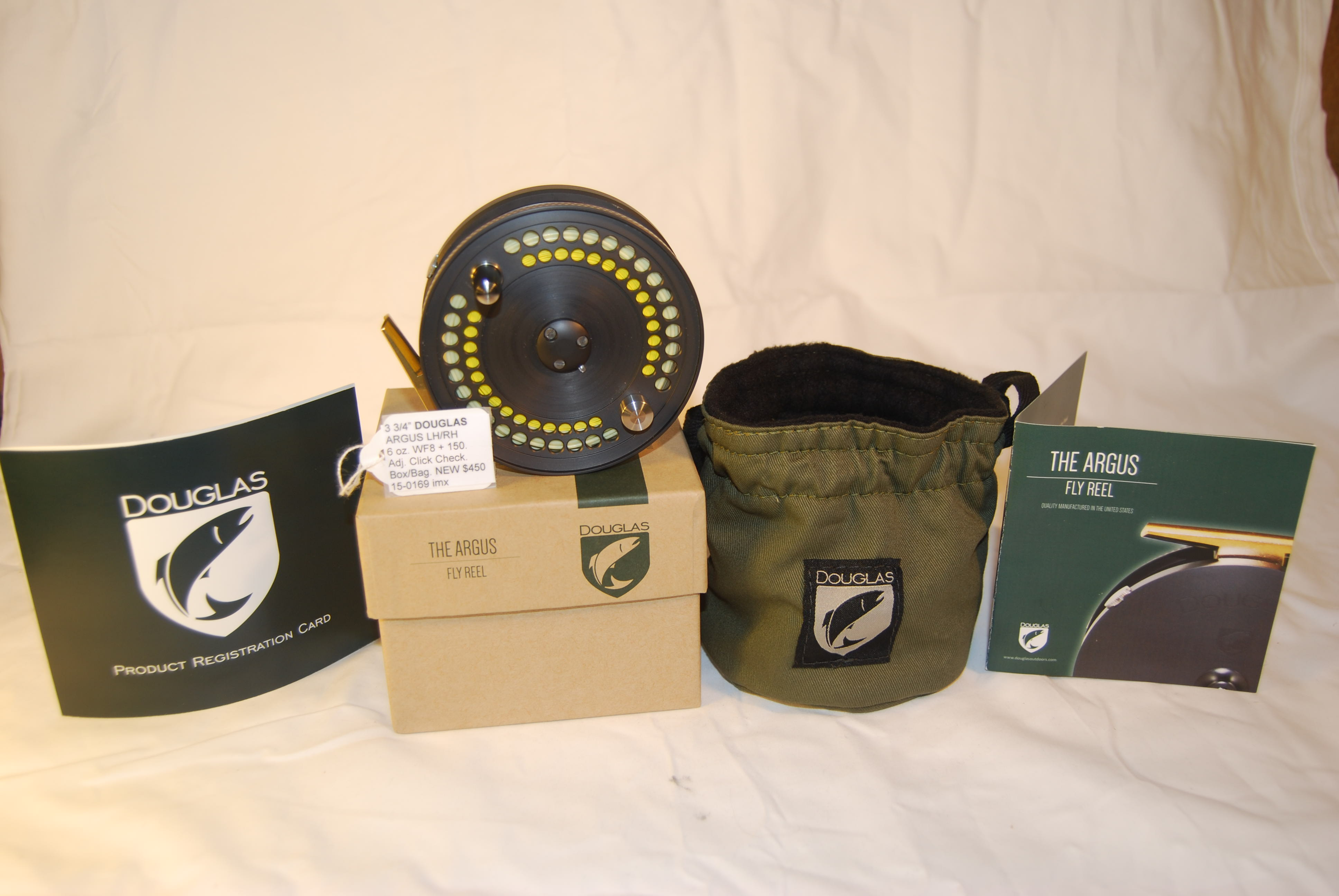 "Image for 3 3/4""  DOUGLAS ""ARGUS""  6 oz. Cap. WF-8 + 150 yd. 20#; in draw string twill fleeced lined bag, box & instructions."
