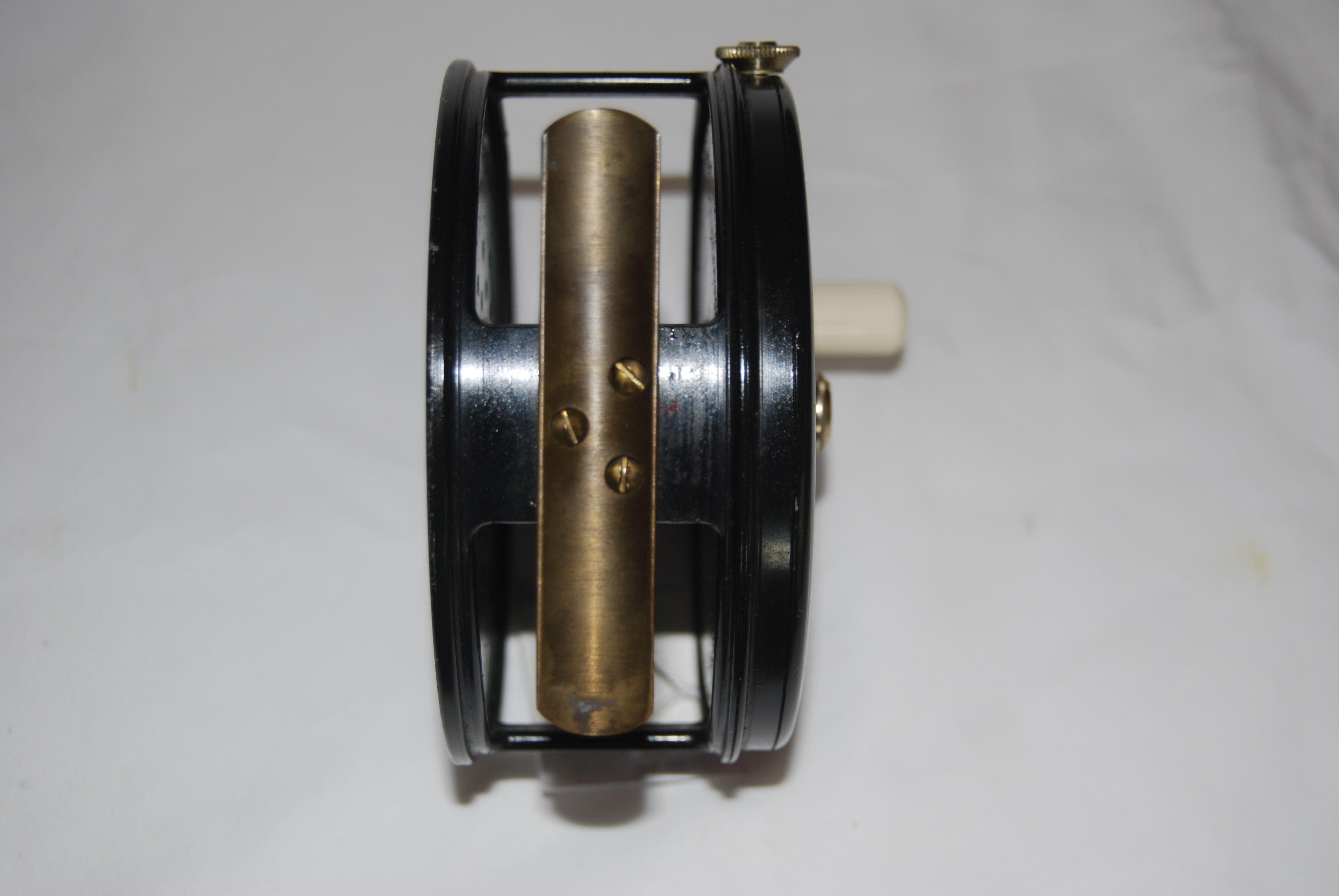 "Image for 4 1/4"" ALLCOCKS [JW YOUNG]  ""PERFECT-TYPE"" SALMON REEL. No Line Guard.  RHW.  Long smooth brass foot fastened with 3 screws [3 1/4""]; Adjustable Dual Check  Mechanism; Ball-bearing Race; White Xylonite Knob; Totally unmarked on frame or internally.  13 ¾ oz. Cap. #10/11/12 Spey + backing. 1930'S."