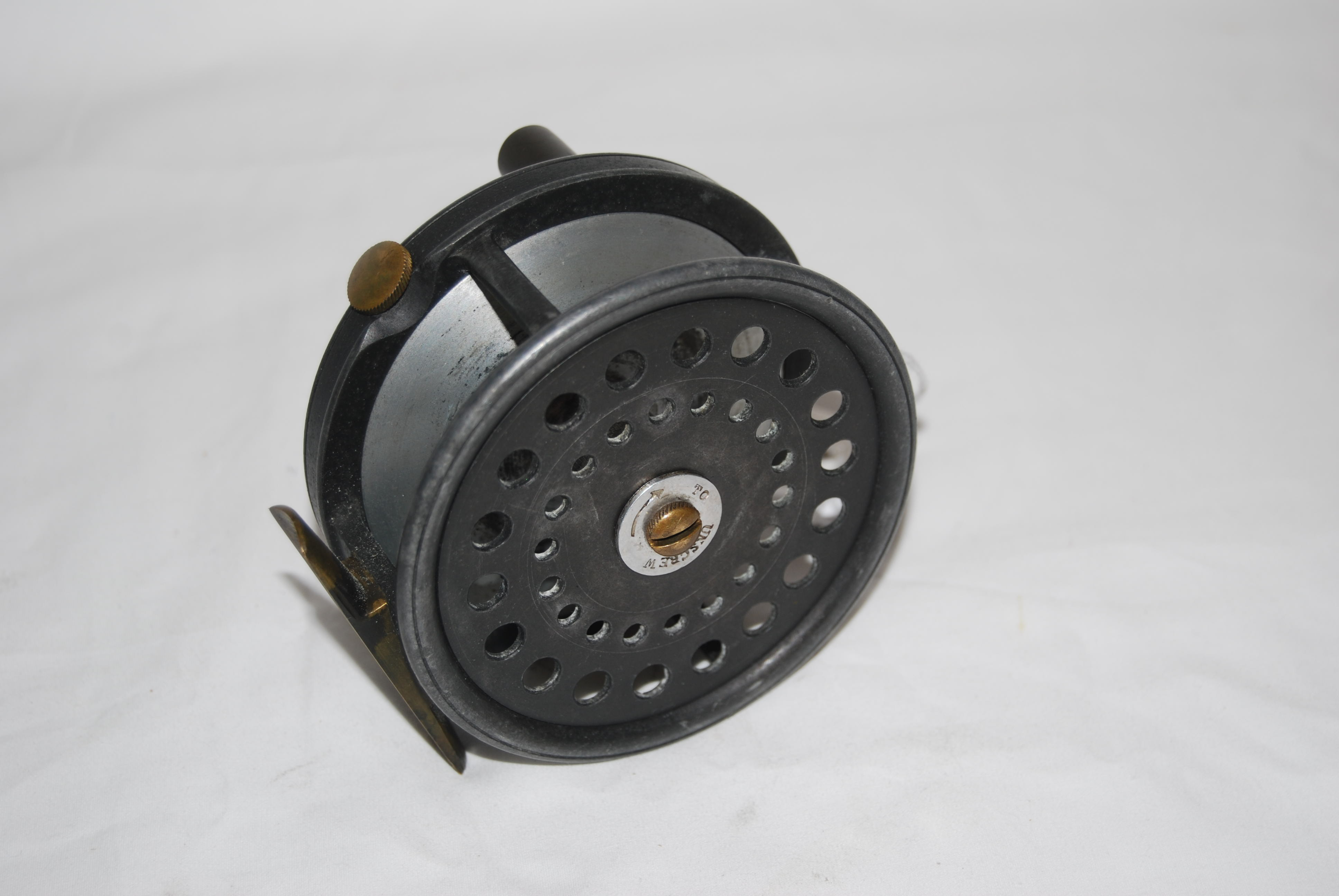 "Image for 3 3/4"" DINGLEY ""PERFECT-TYPE"" Salmon Reel.; RHW; Marked ""W. Garden / Aberdeen"" on face plate; Black Ebonite  knob; Ball-bearing thrust; Dual spring & pawl Adj. check with  Tension regulator; Short smooth brass foot [2 1/2""] to fit modern seats; 11 1/2 oz.;   Circa 1950- 60's."