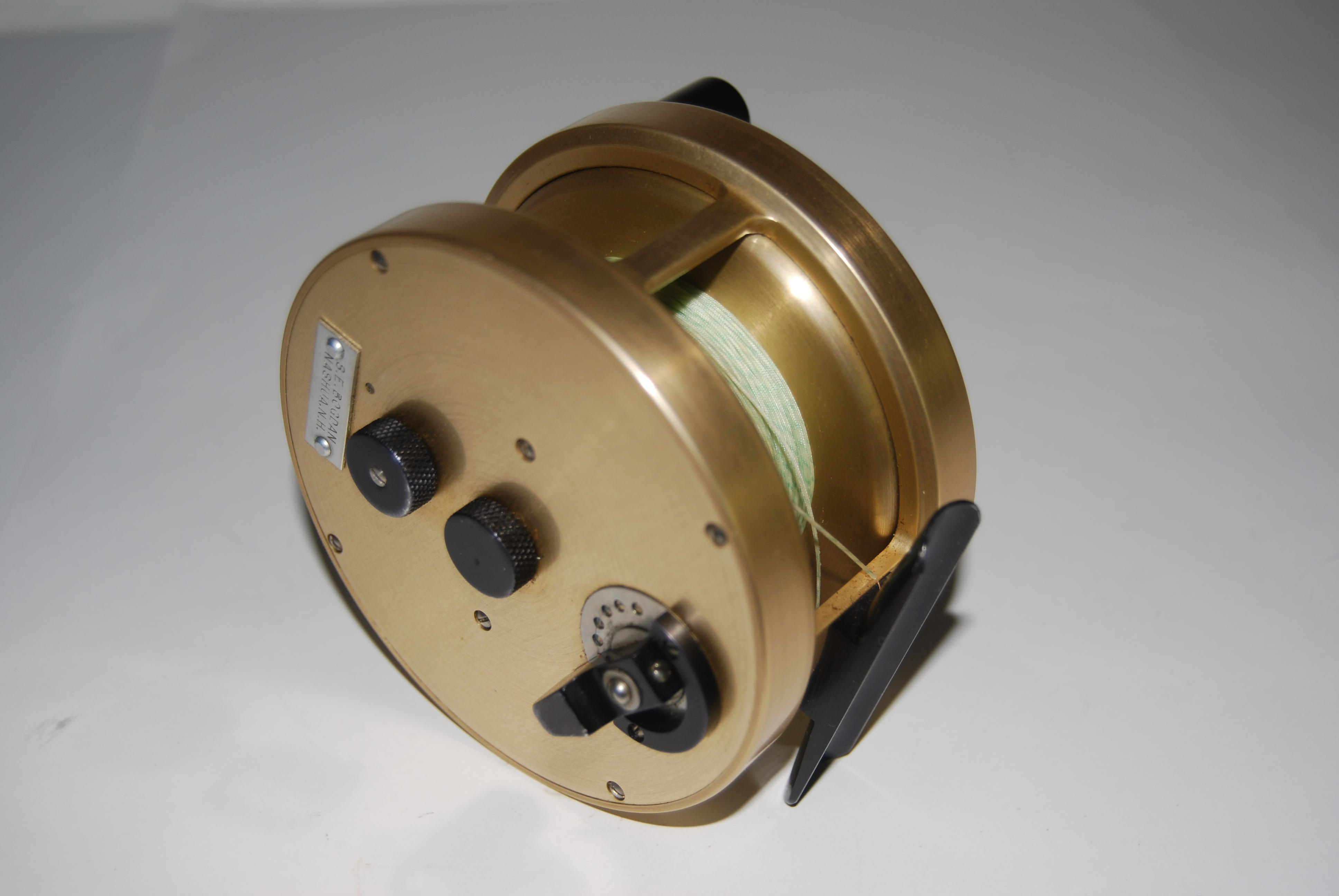 "Image for 3 3/4"" BOGDAN Model 200-M. Salmon Reel.  RHW.  12.5 oz. Cap. WF10 + 180  yd. 2:1 Multiplier. Abercrombie & Fitch Light Gold Anodized Frame; Black Handle, Knob & Reel Seat. In Abercrombie & Fitch Block Leather Reel Case."