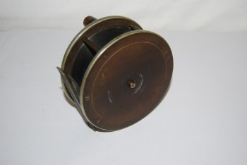 "Image for 4 1/4"" [UNMARKED] BIRMINGHAM BRASS FACED & EBONITE PLATEWIND with NICKLE SILVER RIMS [Circa 1880-1900] 16 oz. 1 1/2"" spool width; Fixed Check; Horn Knob; 3 3/8 in. smooth Brass Foot;"
