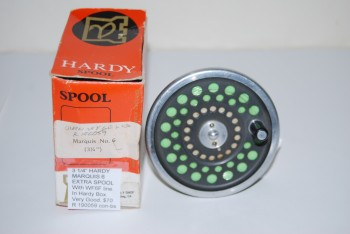"Image for  3 1/4"" HARDY MARQUIS 6 EXTRA SPOOL.Cap. WF-7 + 100 yd. Late 1980's-1990 model with silver rims on dark grey spool.  With [?] CORTLAND 444SL WF-6F [? ]+ Backing in Hardy Box."
