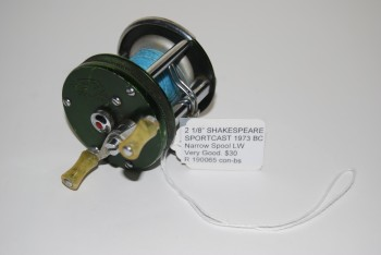 "Image for  2 1/8"" SHAKESPEARE SPORTCAST 1973 BAIT CASTING REEL. Mod. GA. Narrow Spool; Level Wind; Jeweled Bearings. With Tournament Casting Line."