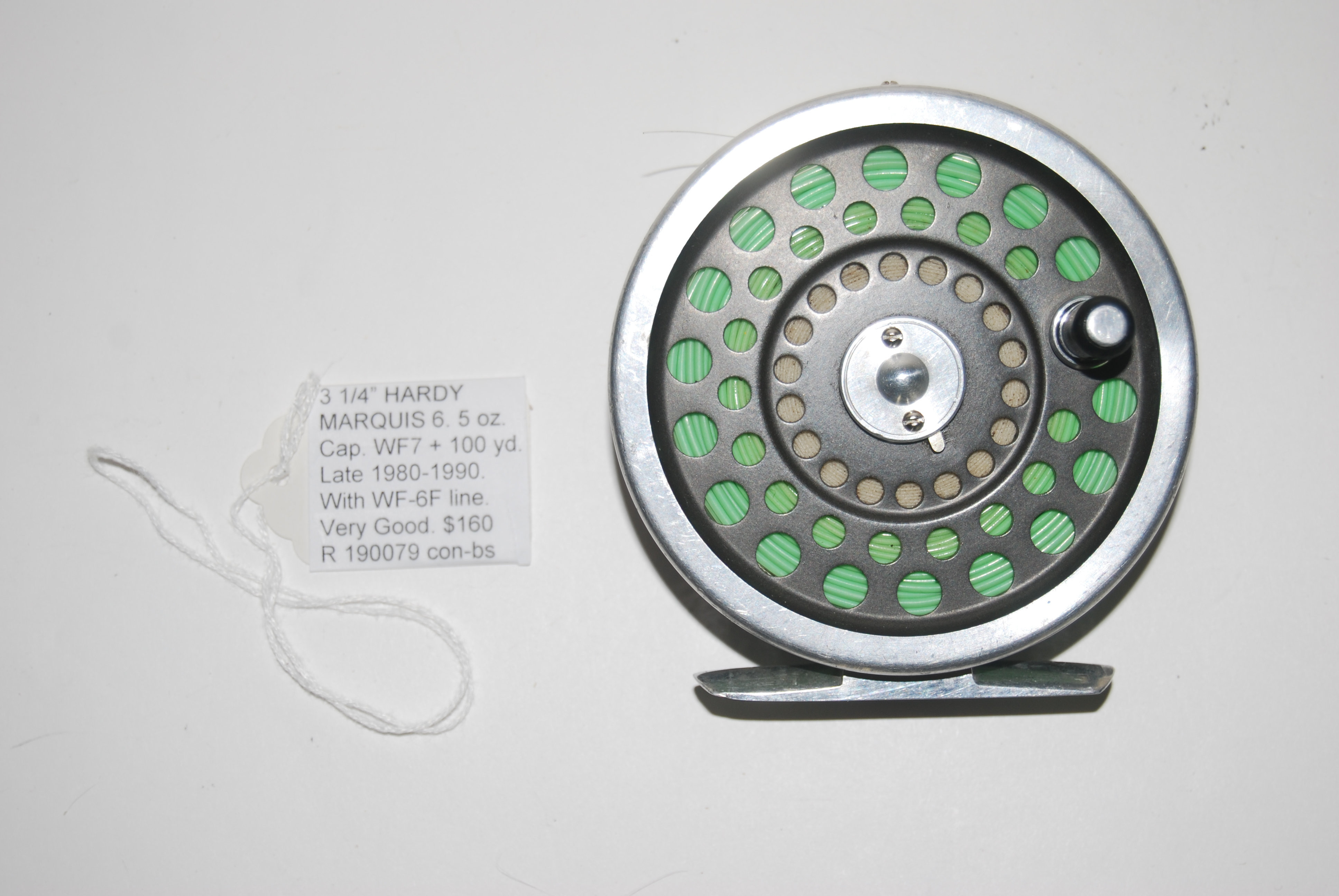 "Image for 3 1/4"" HARDY MARQUIS 6 RH/LHL 5 oz. .Cap. WF-7 + 100 yd. Late 1980's-1990 model with silver rims on dark grey spool."